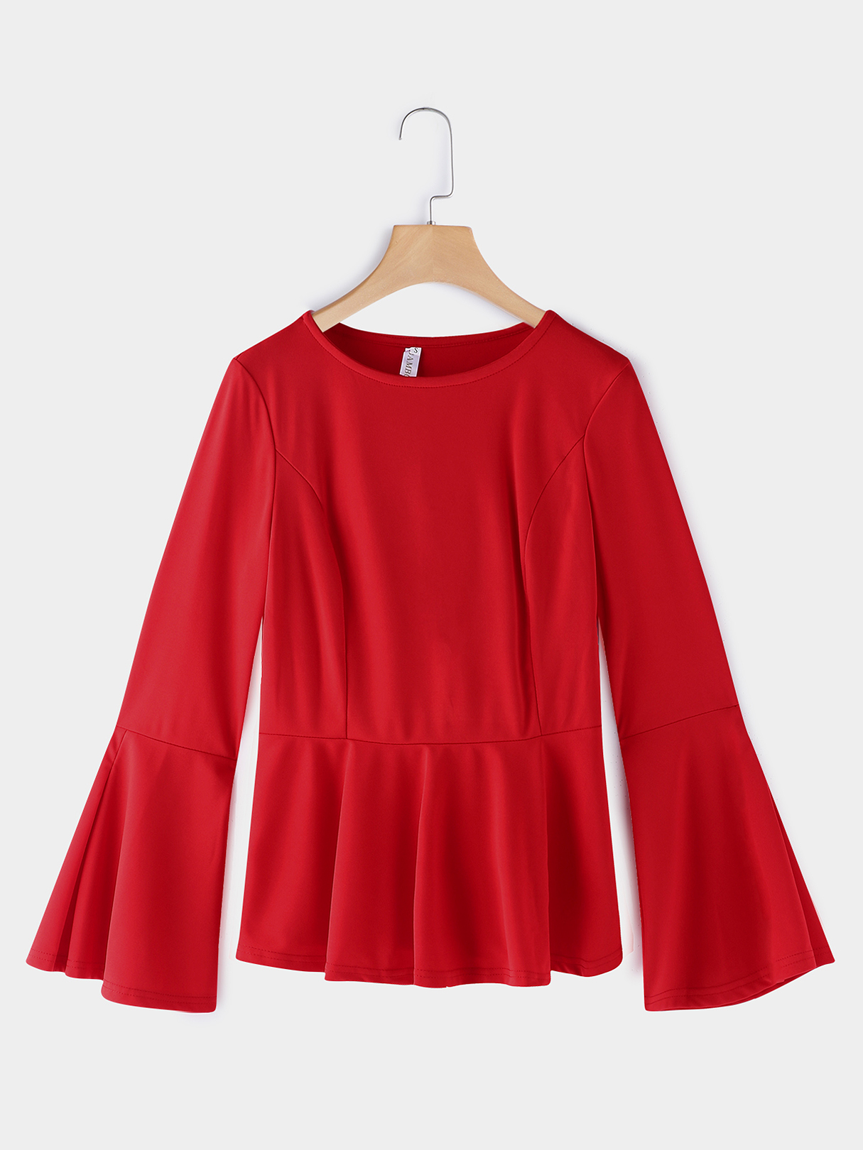 Red Plain Crew Neck Flared Long Sleeves Flounced Hem T-shirt black splited in the back plain round neck flared sleeves blouse
