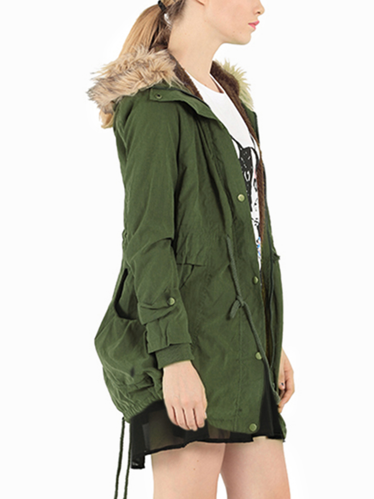 YOINS / Army Green Drawstring Waist Loose Padded Outerwear with Hood