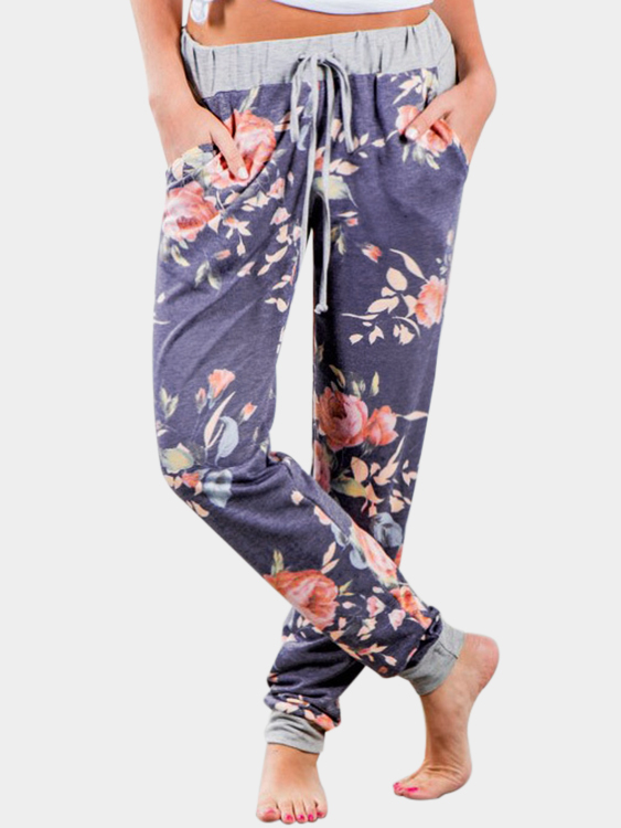 Blue Front Design Drawstring Elastic Waist printed Pants