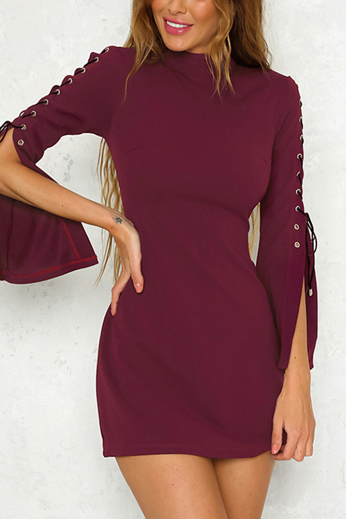 Burgundy Round Neck Lace-up Slit Sleeve Mini Dress lace up zipper back transparent heels