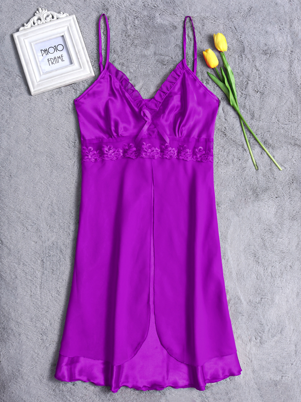 Purple Sexy V-neck Lace Details Silk Material Pajamas Dress sexy v neck silk material pajamas set in green
