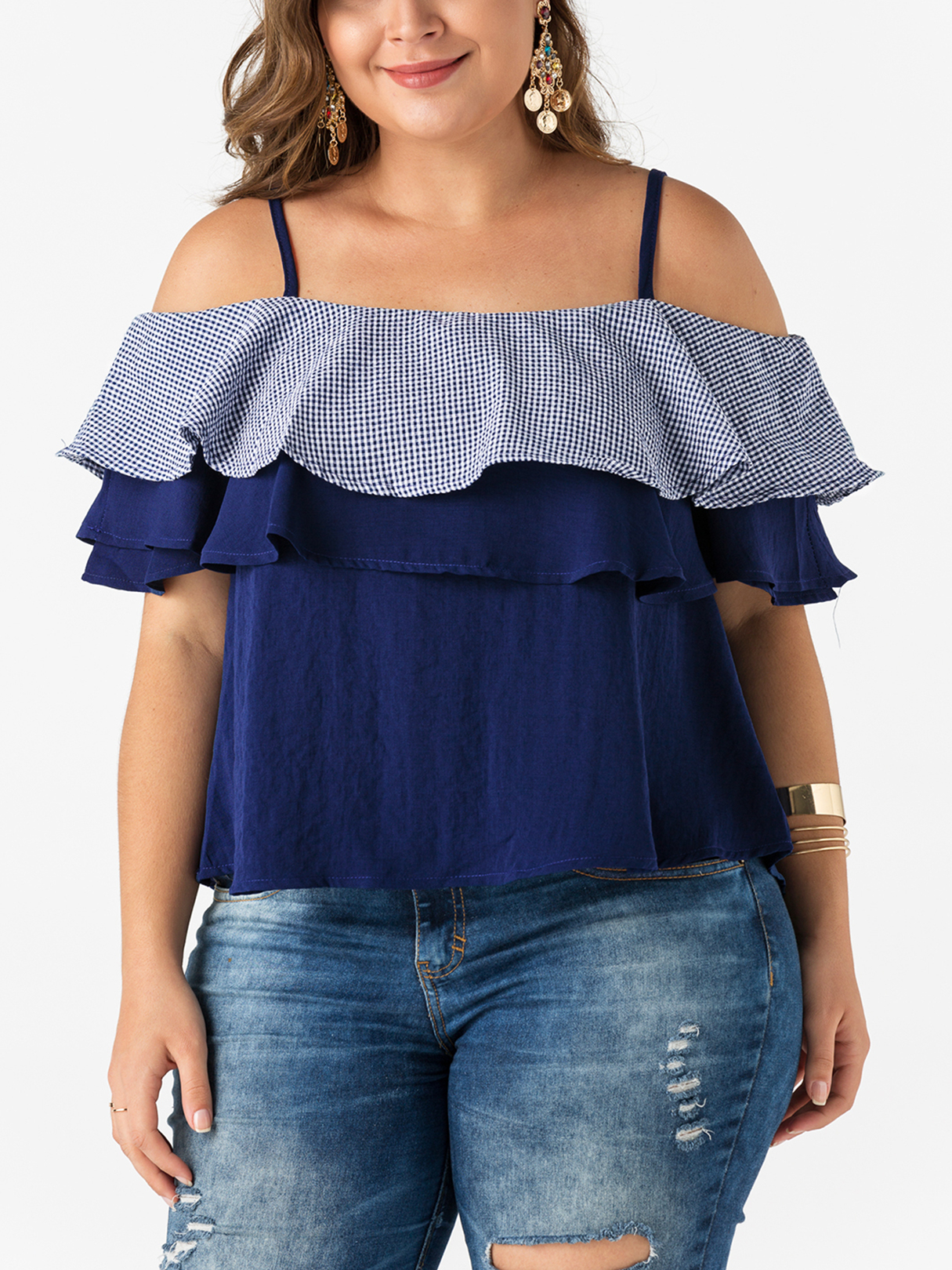 Dark Blue Layered Design Off The Shoulder Blouses flounce layered florals top with shorts