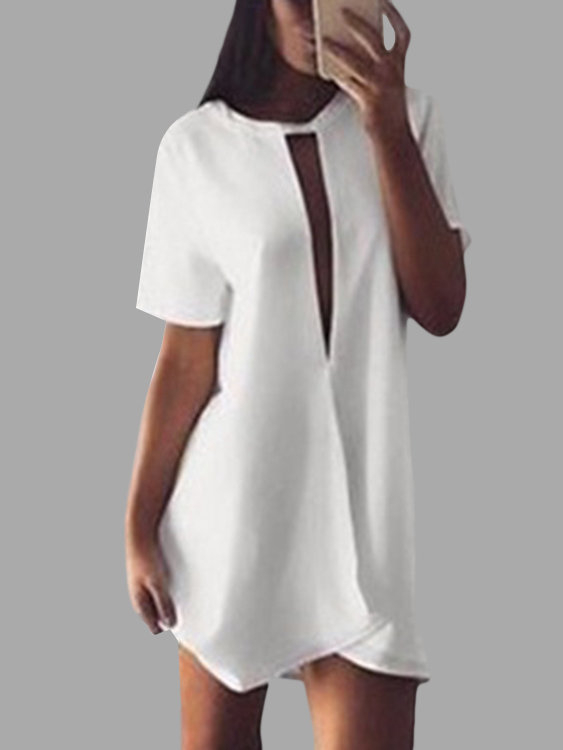 White Cut Out Short Sleeves Loose Mini Dress