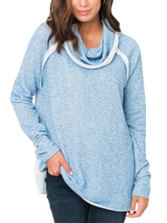 Blue Contrasting Roll Neck Long Sleeves Stitching Sweatshirt democracy women s mineral wash shark bite woven with roll tab sleeves