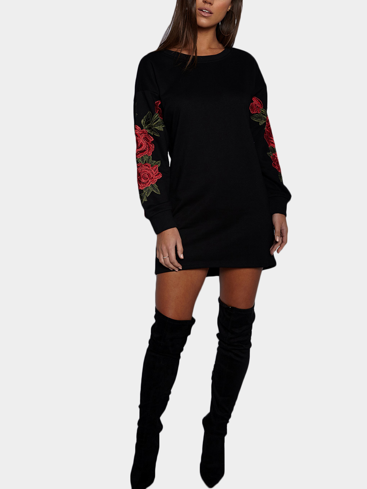 Black Rose Embroidered Long Sleeves Sweatshirt