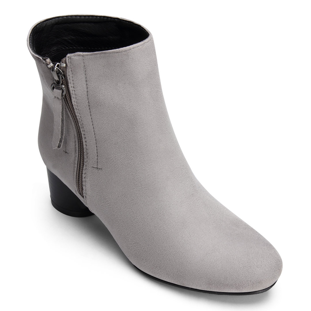 Grey Suede Side Zipper Design Chunky Heels Short Boots