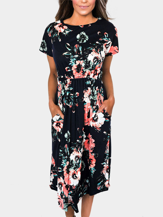 Random Floral Print Short Sleeves Stretch Waistband Dress in Black