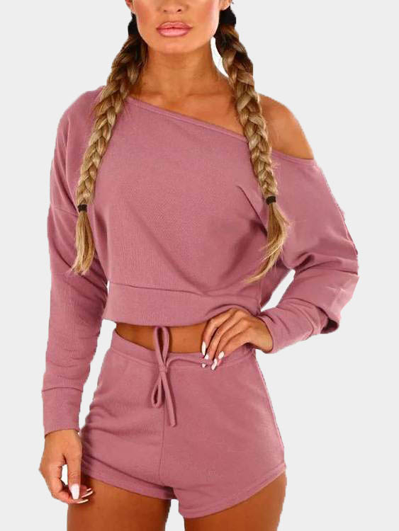 Blush Pink Long Sleeves Casual Two Piece Set 1 set fashion pink casual wear outfit for 18 inch american girl gifts for kids