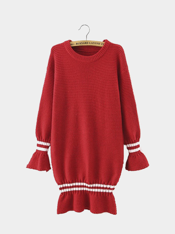 Red Stripe Long Sleeve Knit Dress with Frill Detail