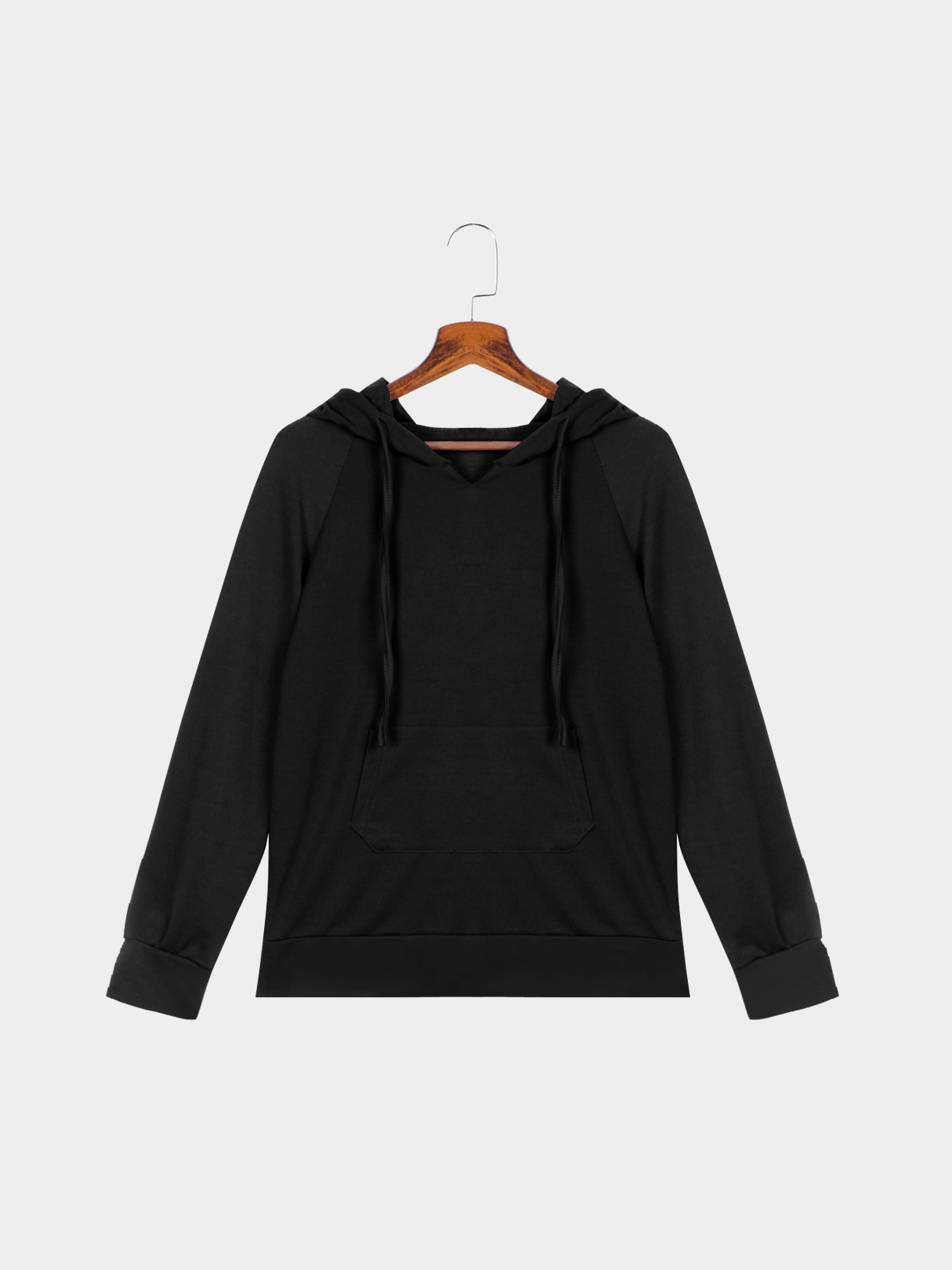 Solid Color Hooded Pocket Front Sweatshirt
