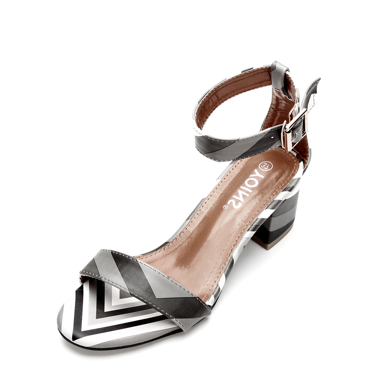 Contrast Color Block Fashion Heel Sandals With Single Strap Front