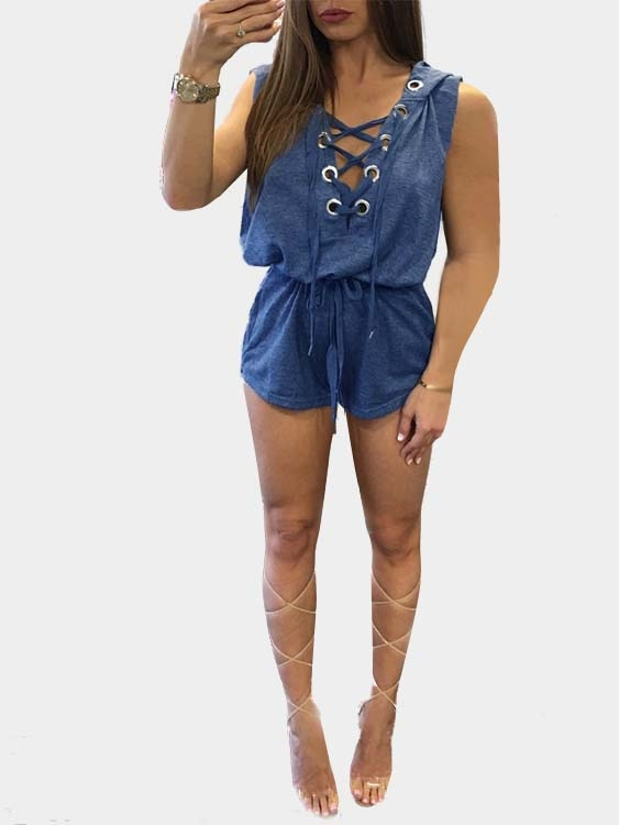 Lace-up Front Middle-waisted Playsuit in Blue pink sexy v neck lace up design playsuit