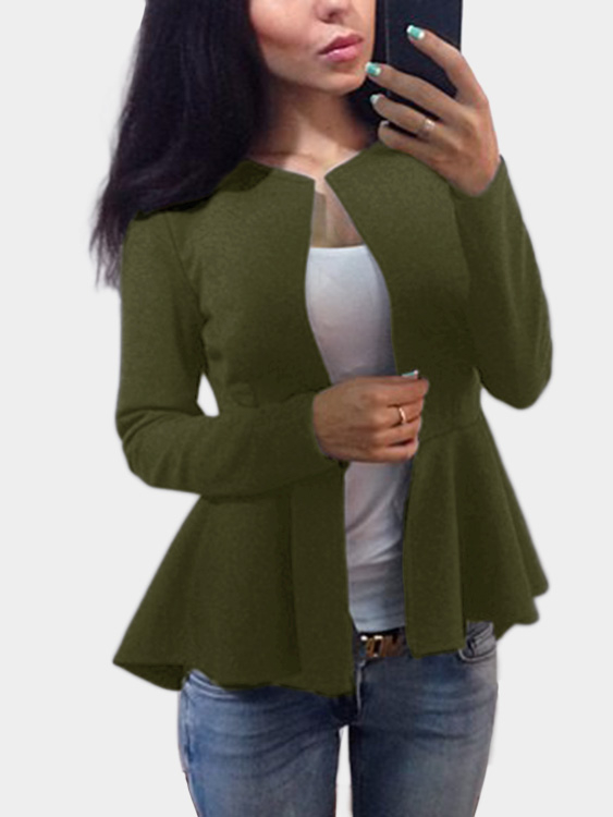 Green Long Sleeves Ruffle Hem Jacket