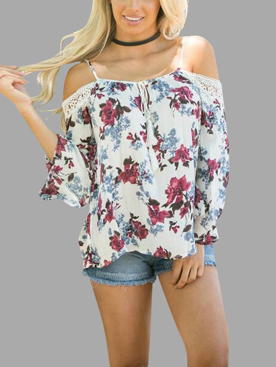 White Cold Shoulder Long Bell Sleeve Floral Print Top