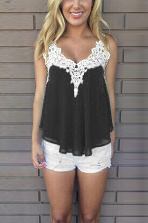 Black Chiffon Crochet Hollow Cami Top