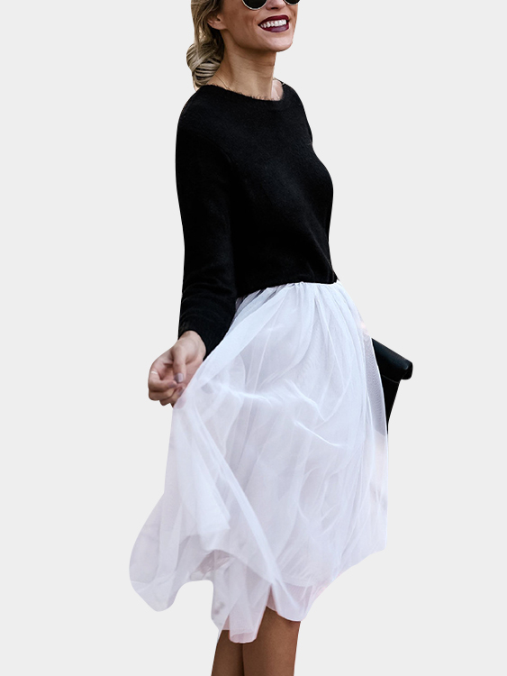 White Swing Tiered Mesh Skirts