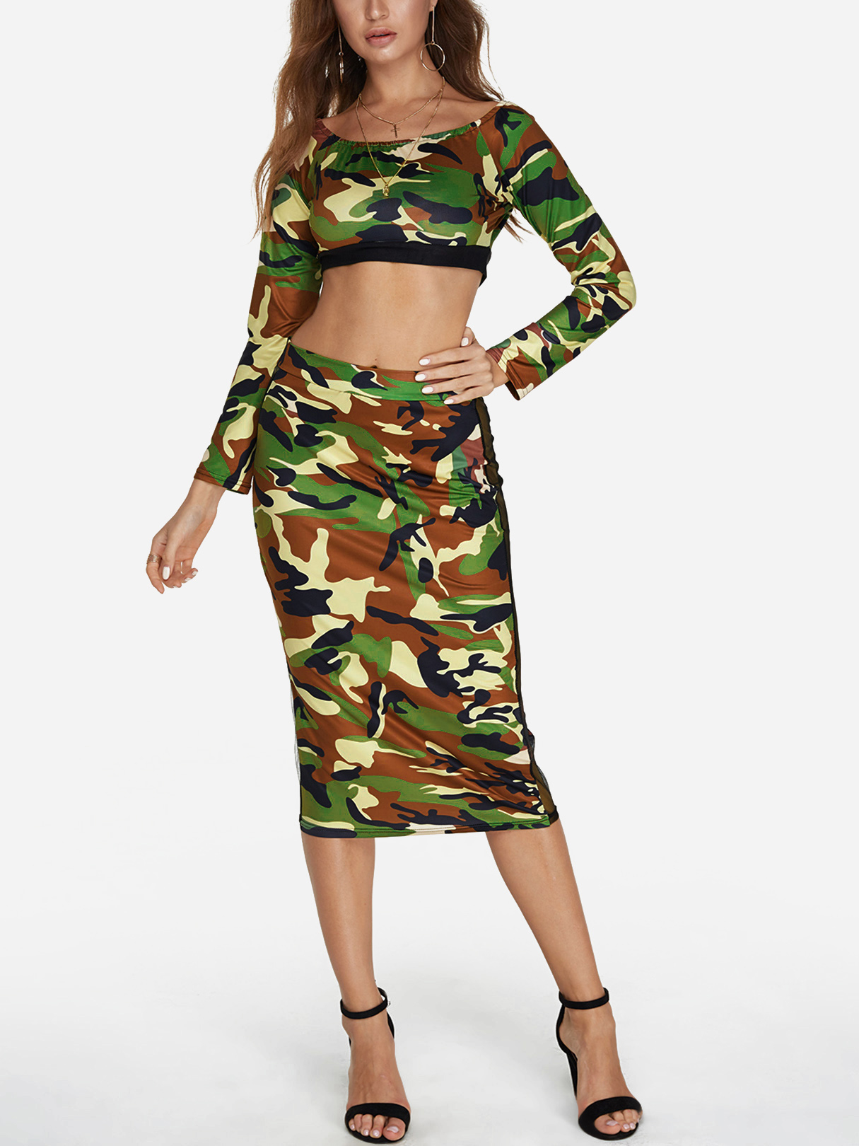 Camouflage Off The Shoulder Long Sleeves Top And Net Yarn Bodycon Skirt the net delusion
