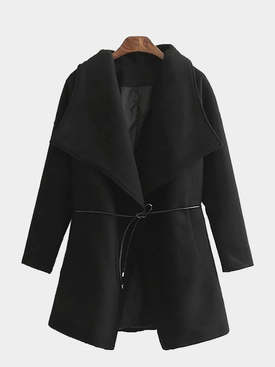 Black Drape Coat with Belt