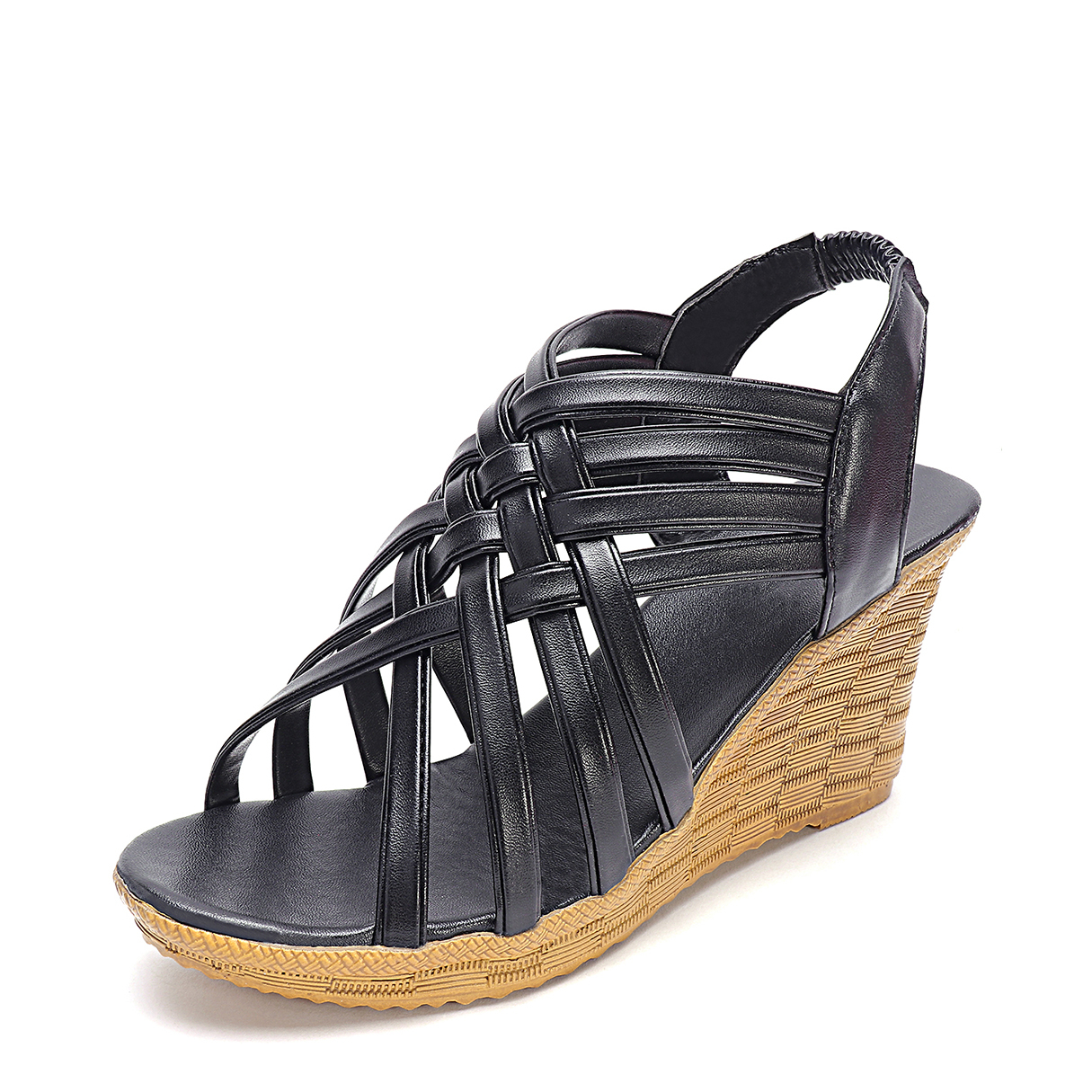 Black Criss Cross Design Wedge Sandals criss cross platform wedge sandals