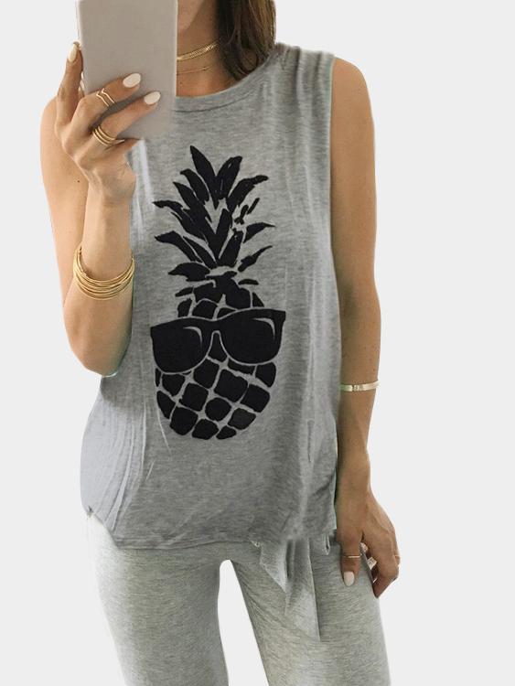 Grey Pineapple Print Cami Top