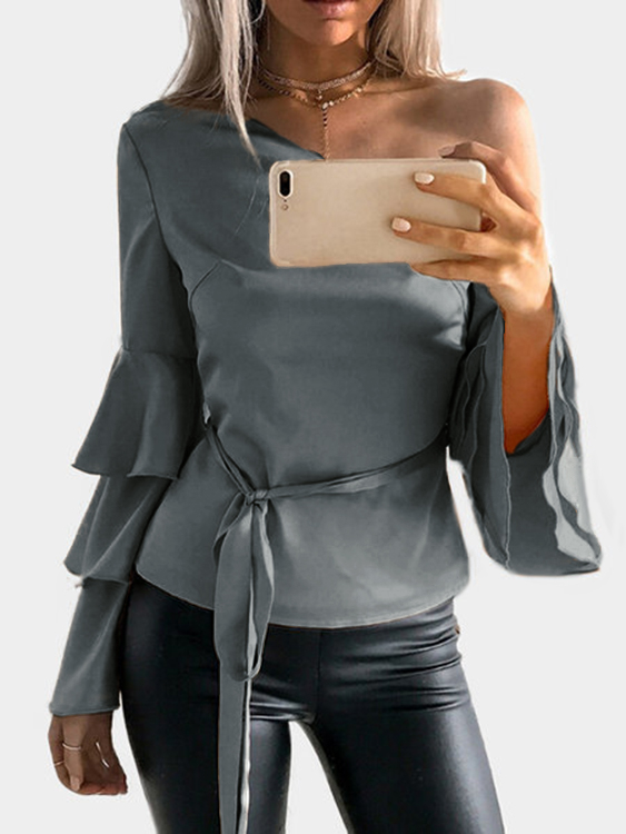 Dark Grey One Shoulder Ruffle Bell Sleeves Blouse with Belt grey plain ripped details one shoulder playsuits with belt