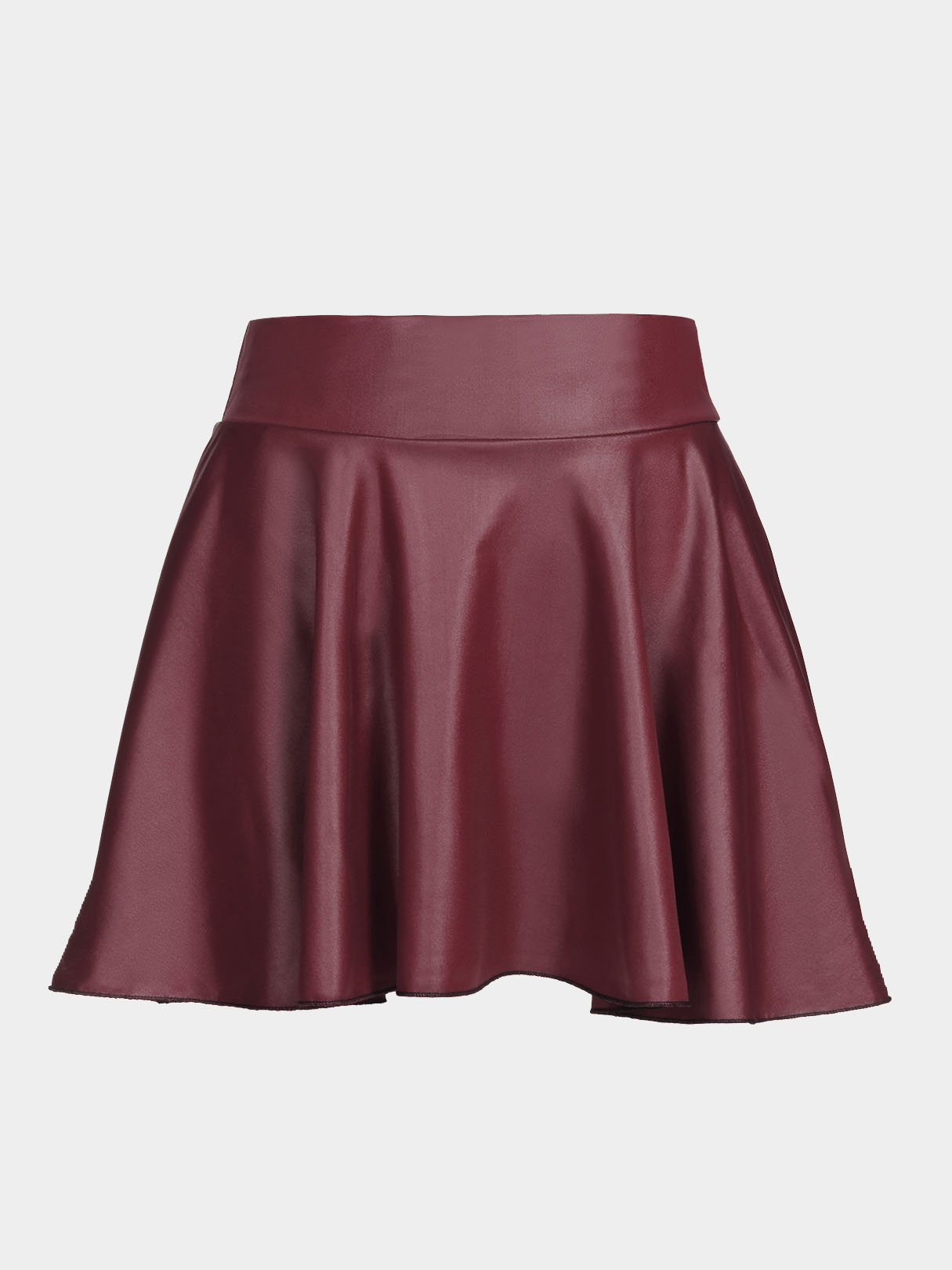 Dark Red Leather Look Skater Skirt With Back Elastic Band pleated high waist a line skater skirt