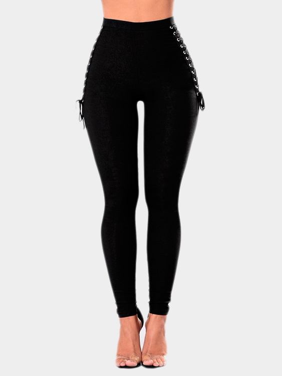 Black Lace-up Design Bodycon Pants