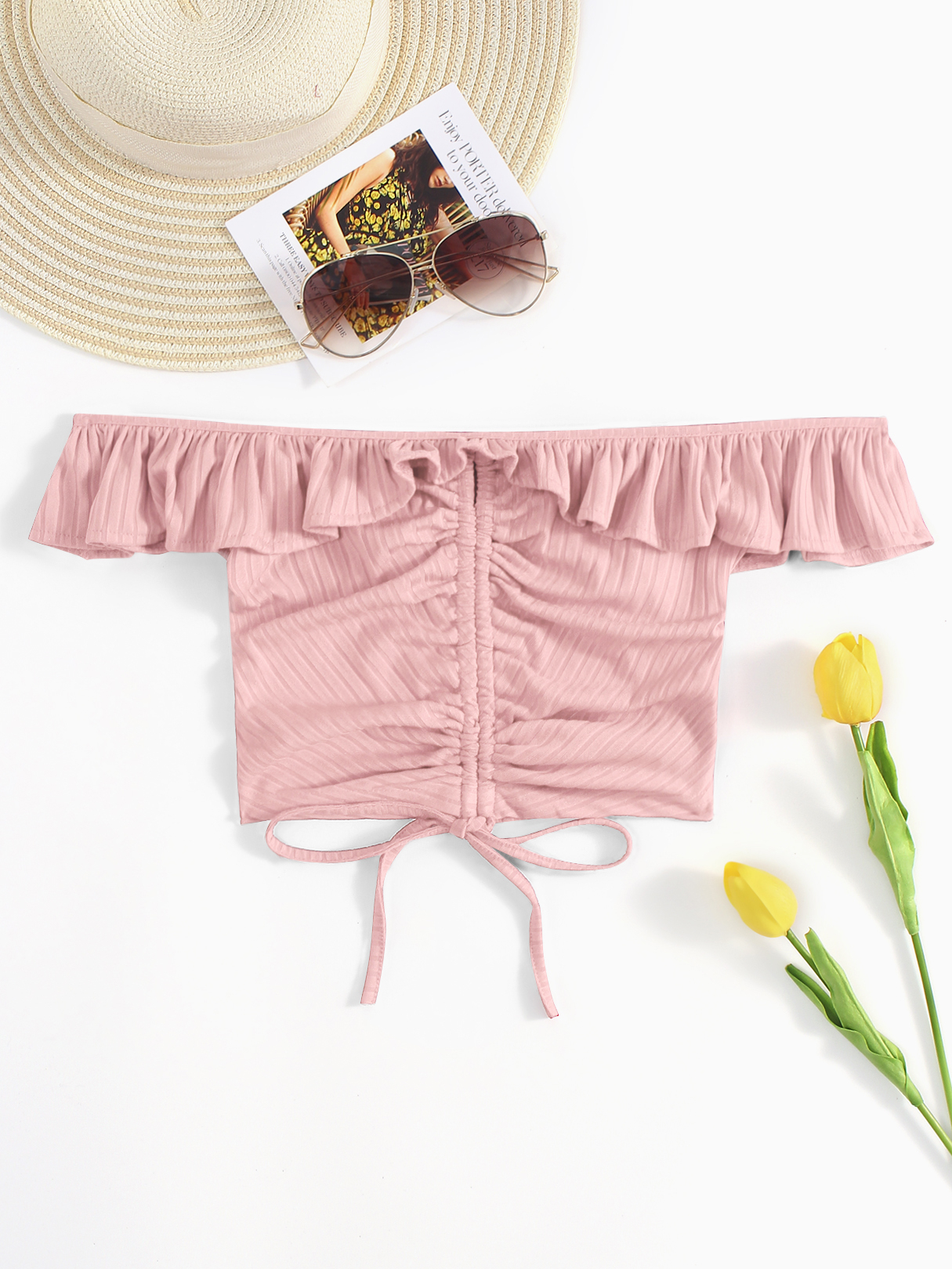 Pink Off Shoulder Shirred Bodice Lace-Up Crop Top pink solid color off shoulder crop bodycon sweaters vests