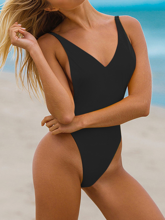 Black Padded Design Deep V Neck Bodysuit Swimwears deep v neck fit