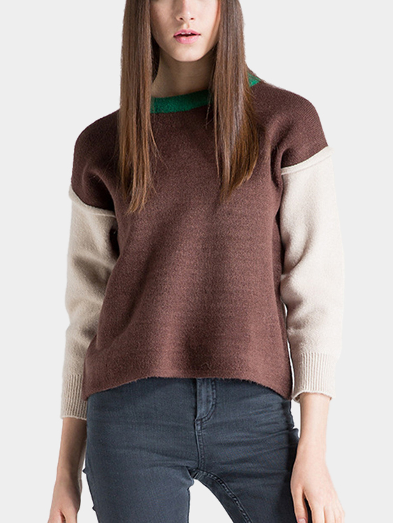 Color Block Sweater ribbed color block sweater
