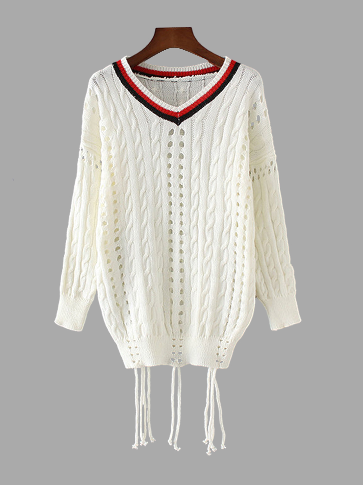 Hollow Out Classic Cable Knit Sweater with Strappy colorblock cable knit sweater