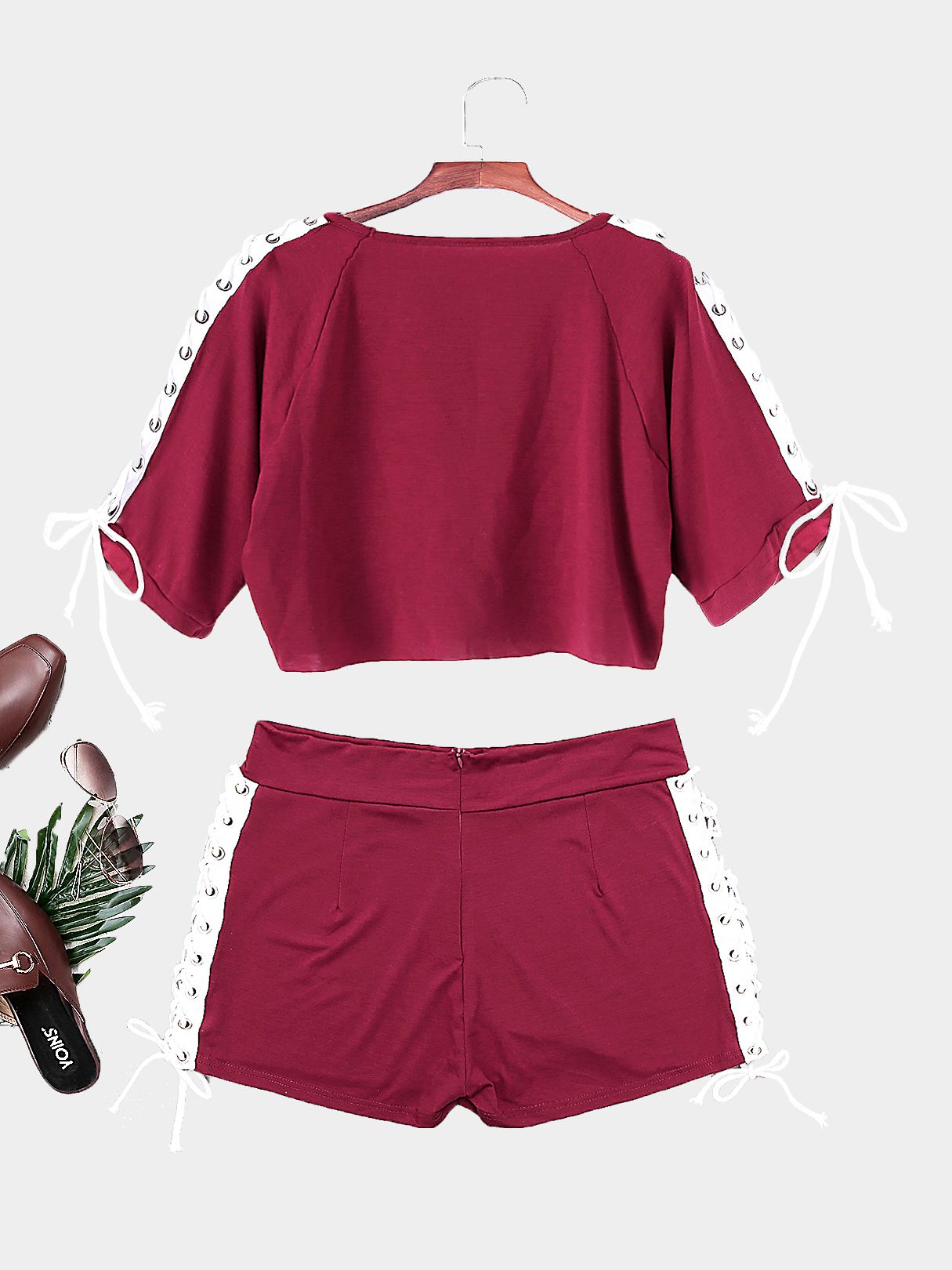 Burgundy Round Neck Lace-Up Short Sleeves Suits от Yoins.com INT