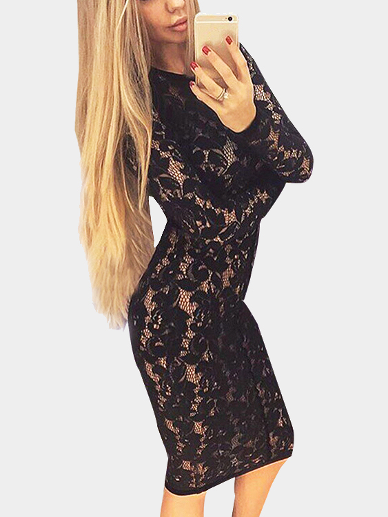 Фото Sexy Black Hollow Lace Bodycon Party Midi Dress