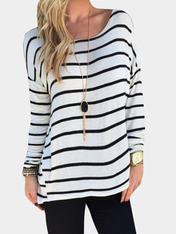 Round Neck Stripe Pattern Shirt