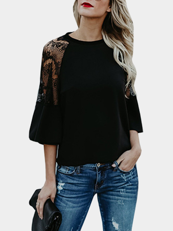 Black Lace Details Crew Neck Flared Sleeves Blouses black see through lace details scoop neck long sleeves blouses