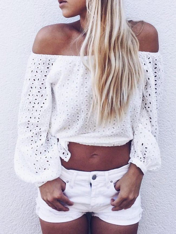 White Hollow Out Off-the-Shoulder Long Sleeves Blouse white hollow out off the shoulder long sleeves blouse