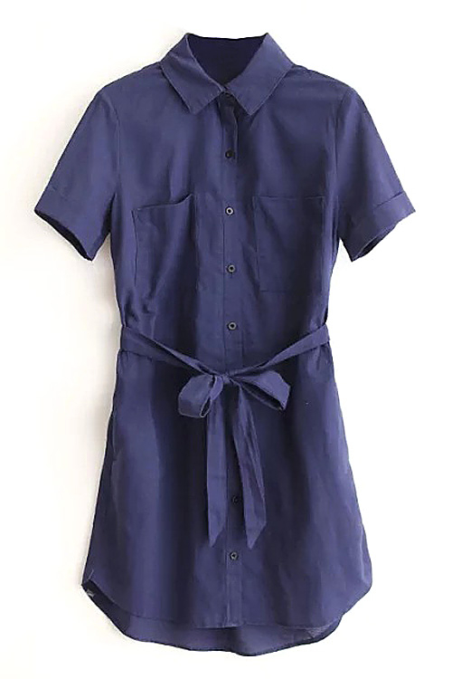 Navy Shirt Mini Dress with Belt