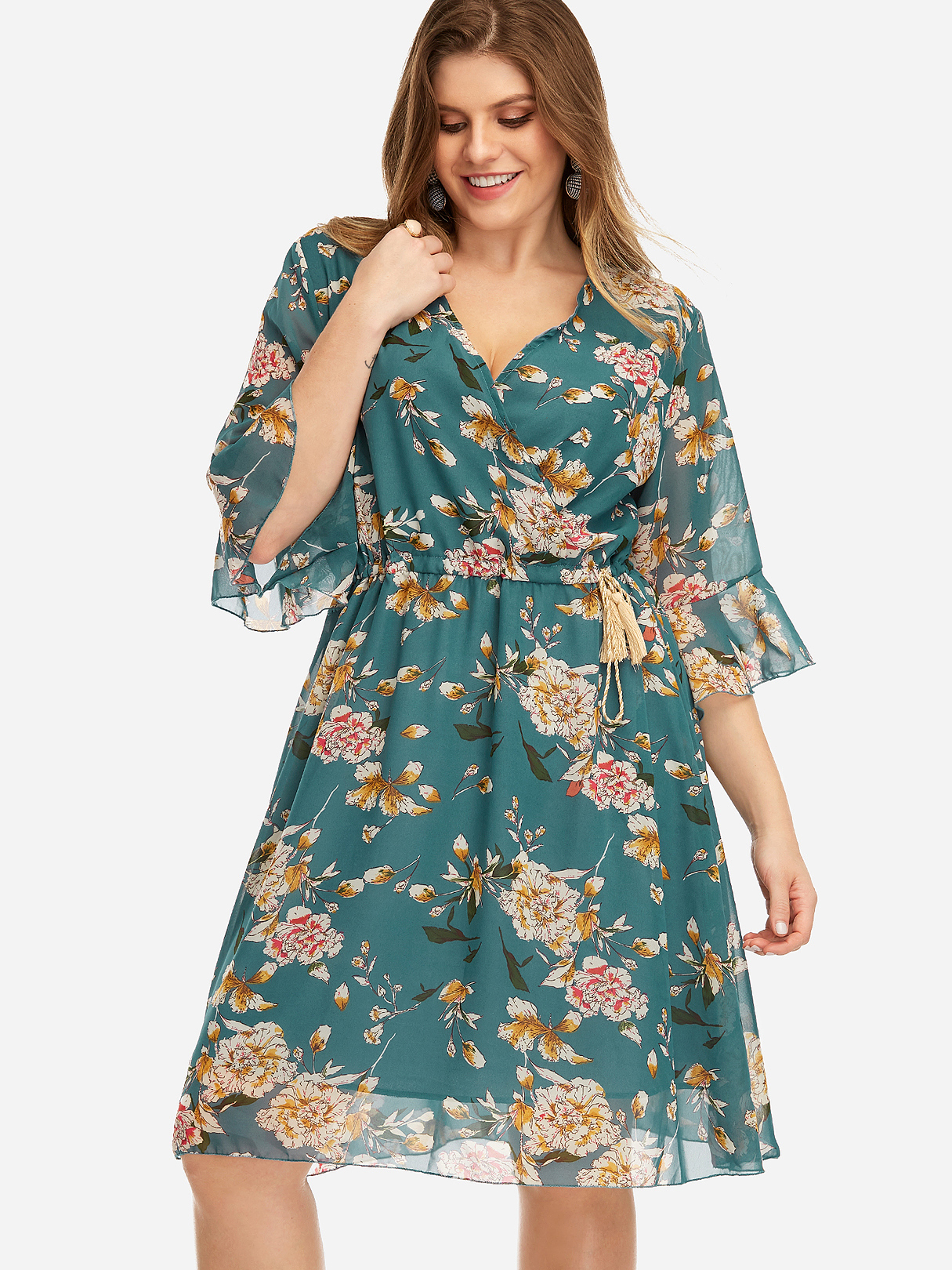 Plus Size Blue Pleated Design Floral Print Flared Sleeves Dress