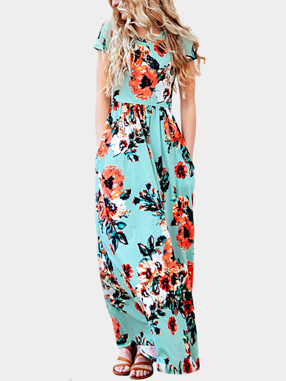 Casual Random Floral Print High-waisted Maxi Dress