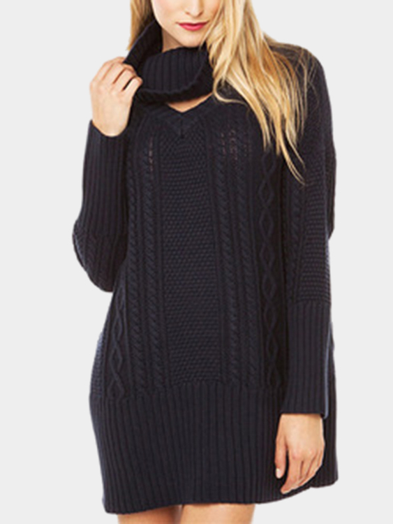 Black High Roll Neck Knitted Sweater