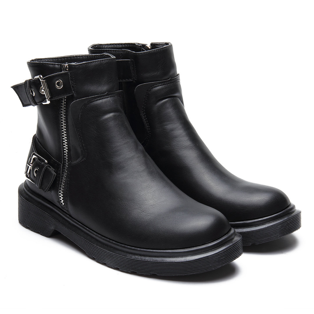 Black Double Buckle Short Boots with Side Zipper Design