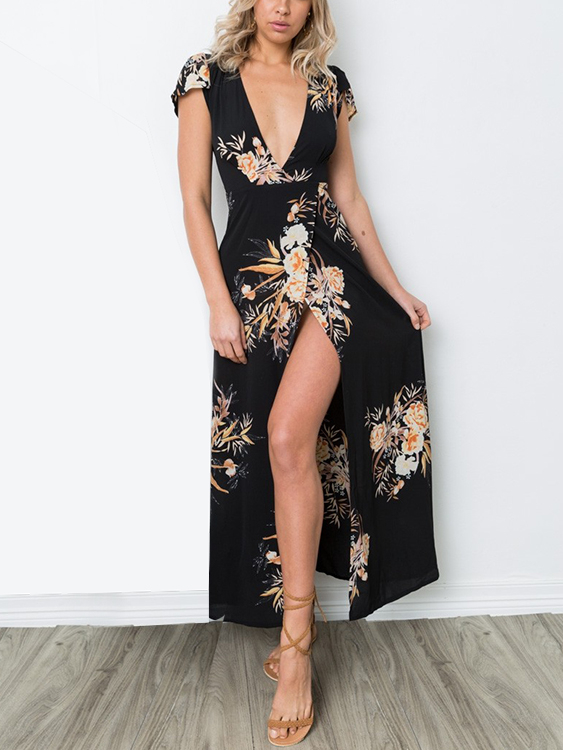 Random Floral Print Slit Design Low Cut V-neck Maxi Dress david gilmour – live at pompeii blu ray