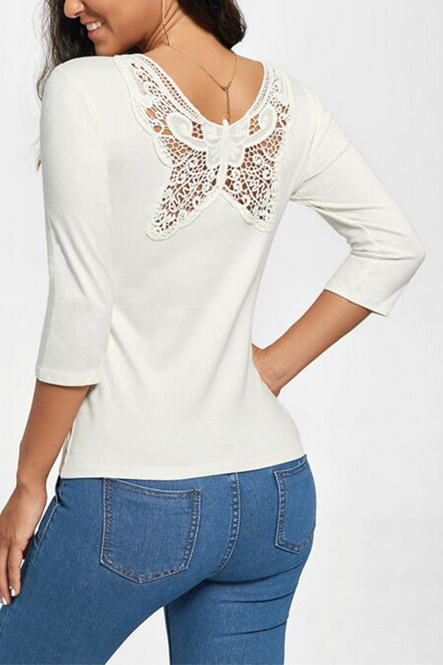White Lace Butterfly Design Round Neck 3/4 Length Sleeves T-shirt купить
