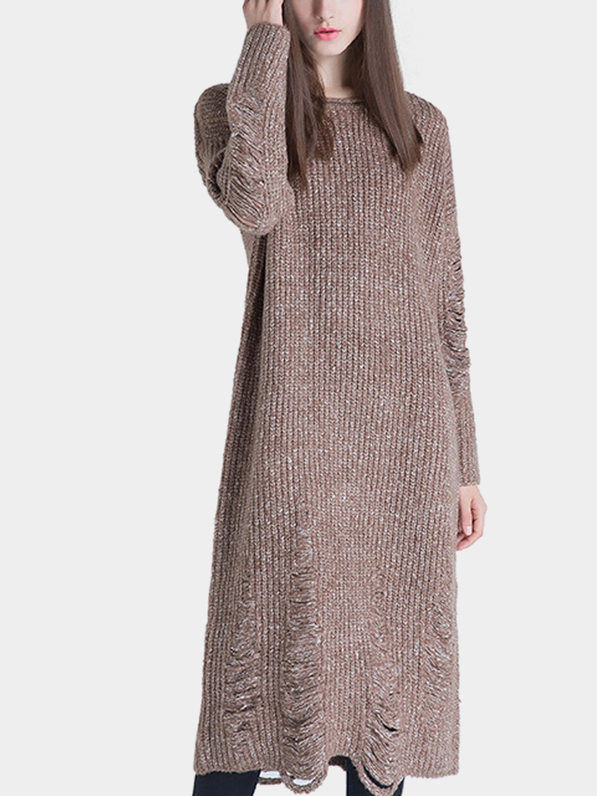 Tan Knitted MIdi Dress with Shredded Rips