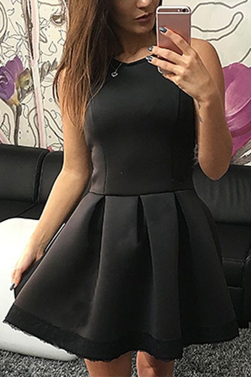 Black Lace Details Round Neck Sleeveless Dress zip back fit and flared plaid dress