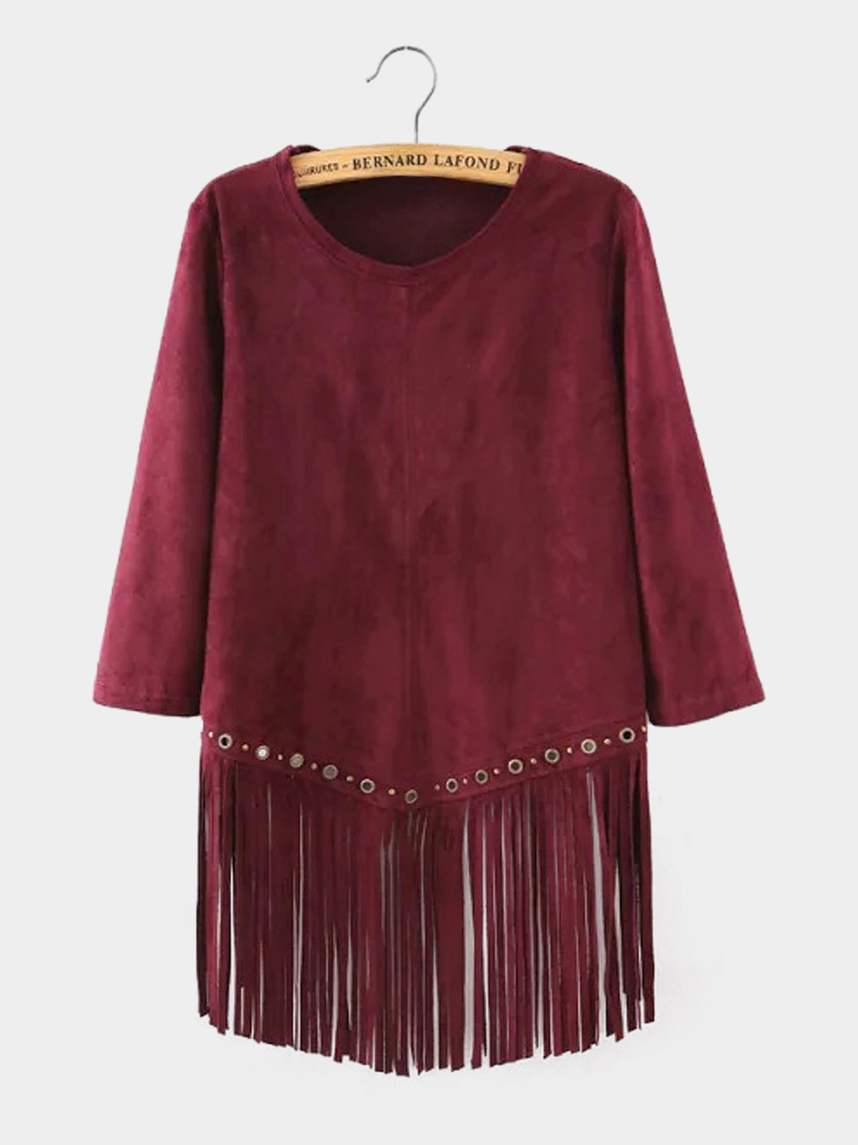 Suede Fringed and Eyelet Hem Top
