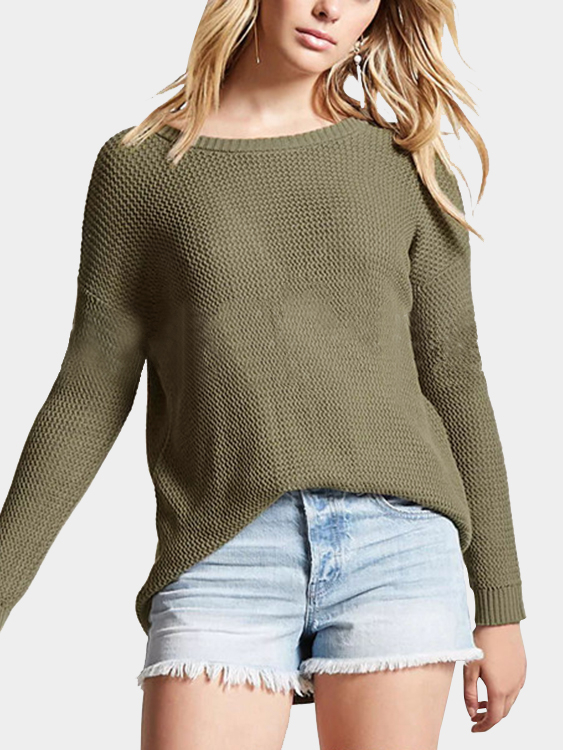 Army Green Oversize Hollow Out Back Knit Sweater knit high low sleeveless sweater