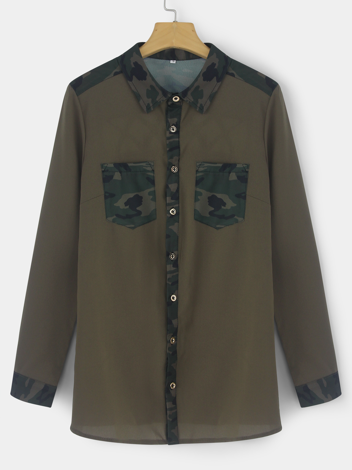 Army Green Casual Camouflage Print Button-down Shirts