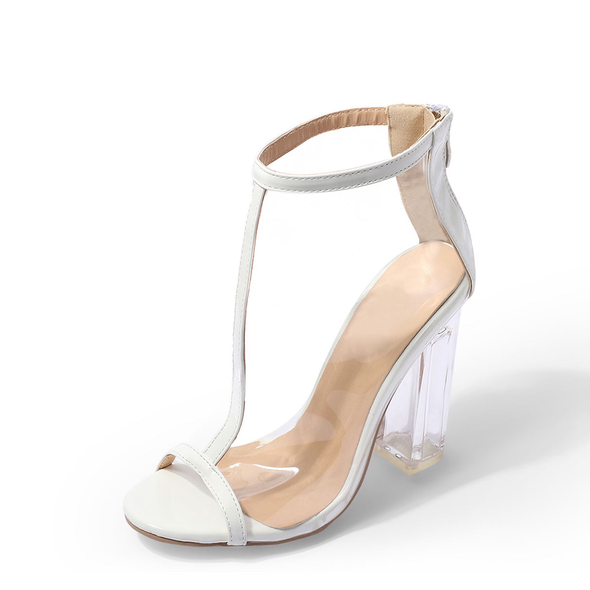 White T-strap Peep Toe Transparent Sandals with Chunky Heels closed toe v cut chunky heels mauve