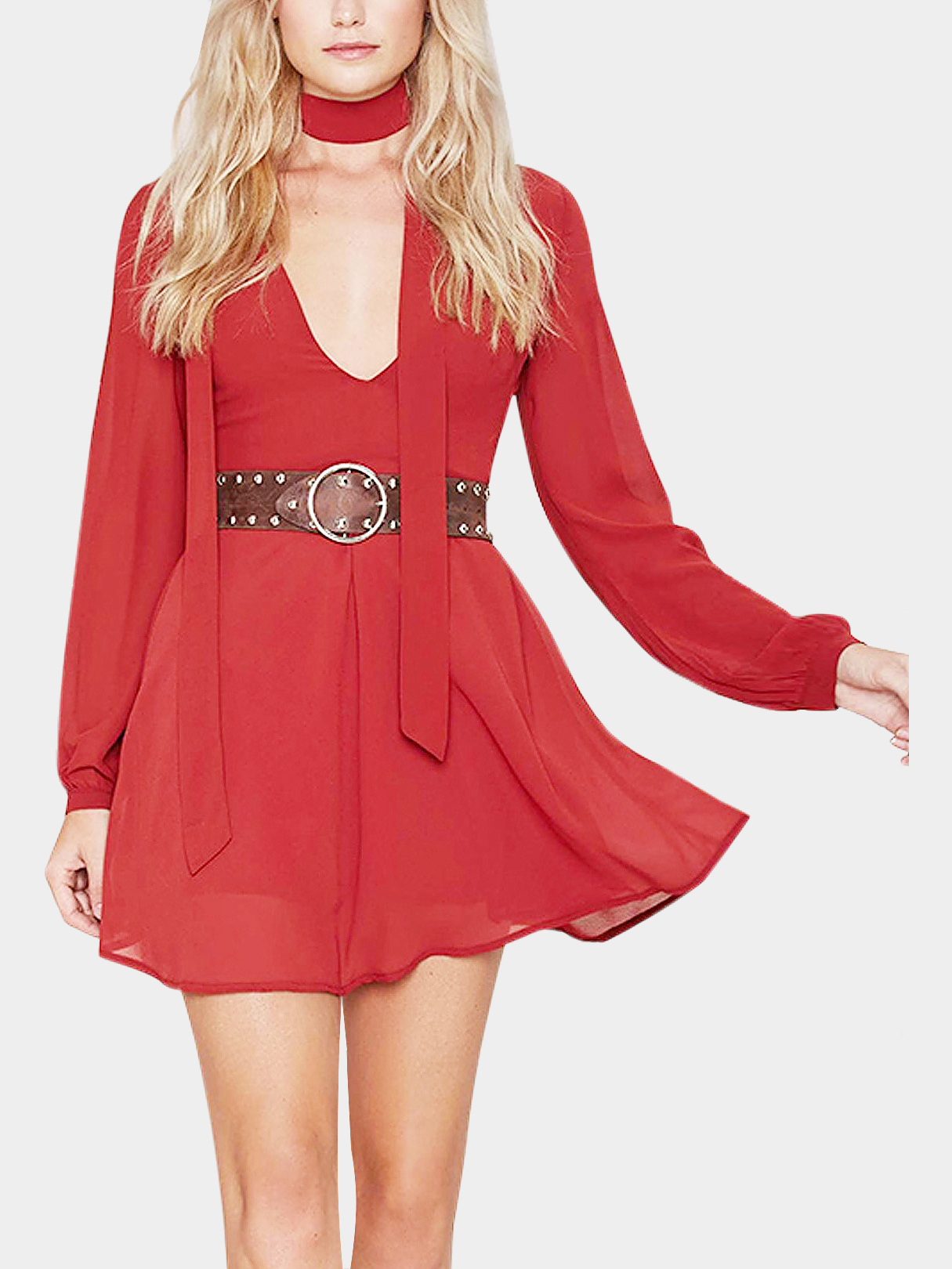 Red Plunging Neck Long Sleeve Dress with Bow